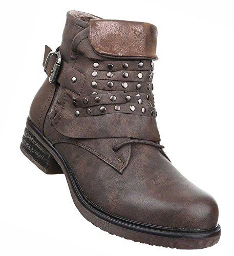 aeef4c69303f5f Damen Boots Schuhe Gefütterte Stiefeletten Mit Nieten Schwarz Braun Beige  Grau Rot 36 37 38 39