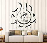 BorisMotley Wall Decal Yoga Quote Pose Meditation Circle Vinyl Removable Mural Art Decoration Stickers for Home Bedroom Nursery Living Room Kitchen