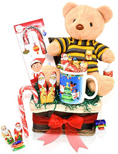 Christmas Chocolate Variety Gift Basket - Mini Santa's, Bears, Christmas Specials, Candy Cane, 10.5'' Teddy Bear and Christmas Mug - Christmas Gifts for Family, Friends, Him, Her