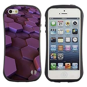 "Hypernova Slim Fit Dual Barniz Protector Caso Case Funda Para Apple iPhone SE / iPhone 5 / iPhone 5S [Hexágono púrpura brillante ciruelo 3D dimensional""]"