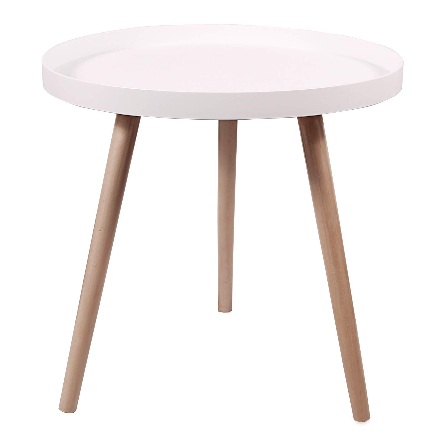 REDCAMP Nesting Coffee Tables for Living Room, Mid Century Modern White Round Side Tables for Small Spaces with Wooden Legs by REDCAMP