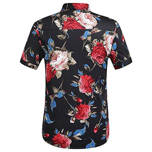WEEN Short Button Print Down Shirt Black Sleeve Floral Red CHARM Men's Casual Tropical Hawaiian UYqUr4zp