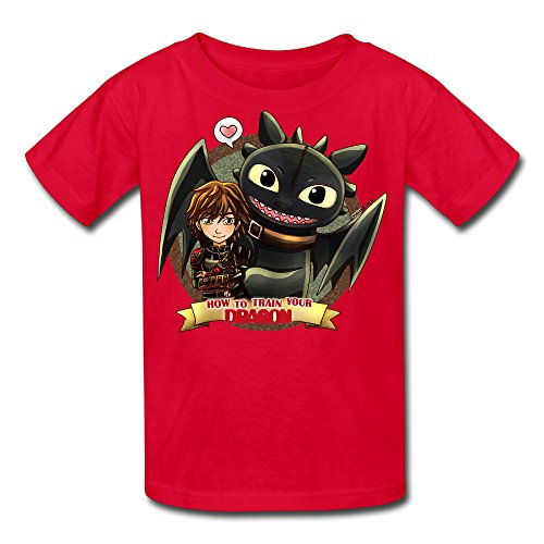 228cb3299665 Kid s 100% Cotton How To Train Your Dragon Funny T-Shirt Red US Size