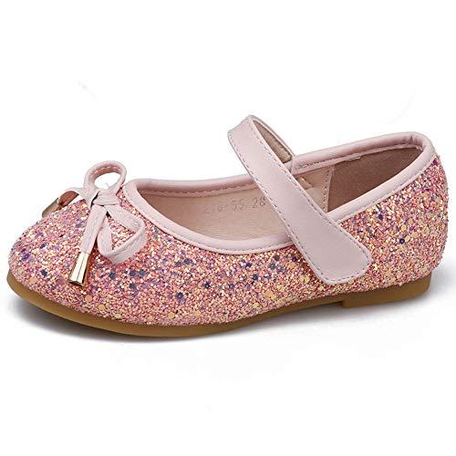 (YING LAN Girl Round-Toe Sparkle Bowknot Ballet Ballerina Flat Shoes Pink)
