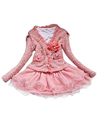 Cute Baby Kids Toddler Girls Lace Flower Outfits Outwear Dress - Pink 8