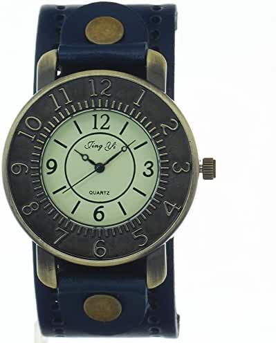 Vintage Retro Punk Style Genuine Leather Strap Blue Wristband Cuff Quartz Analog Wrist watch