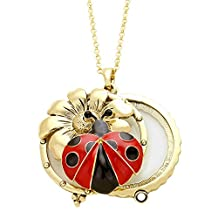 """Enameled Lady Bug and Daisy Flower Open Work Gold-Tone Magnifying Glass Pendant Necklace, 30"""" Long"""