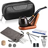 Joyoldelf Luxury Ebony Tobacco Smoking Pipe Set, Deepened & Windproof Wooden Pipe with Leather Tobacco Pouch, Wood Stand and Smoking Accessories
