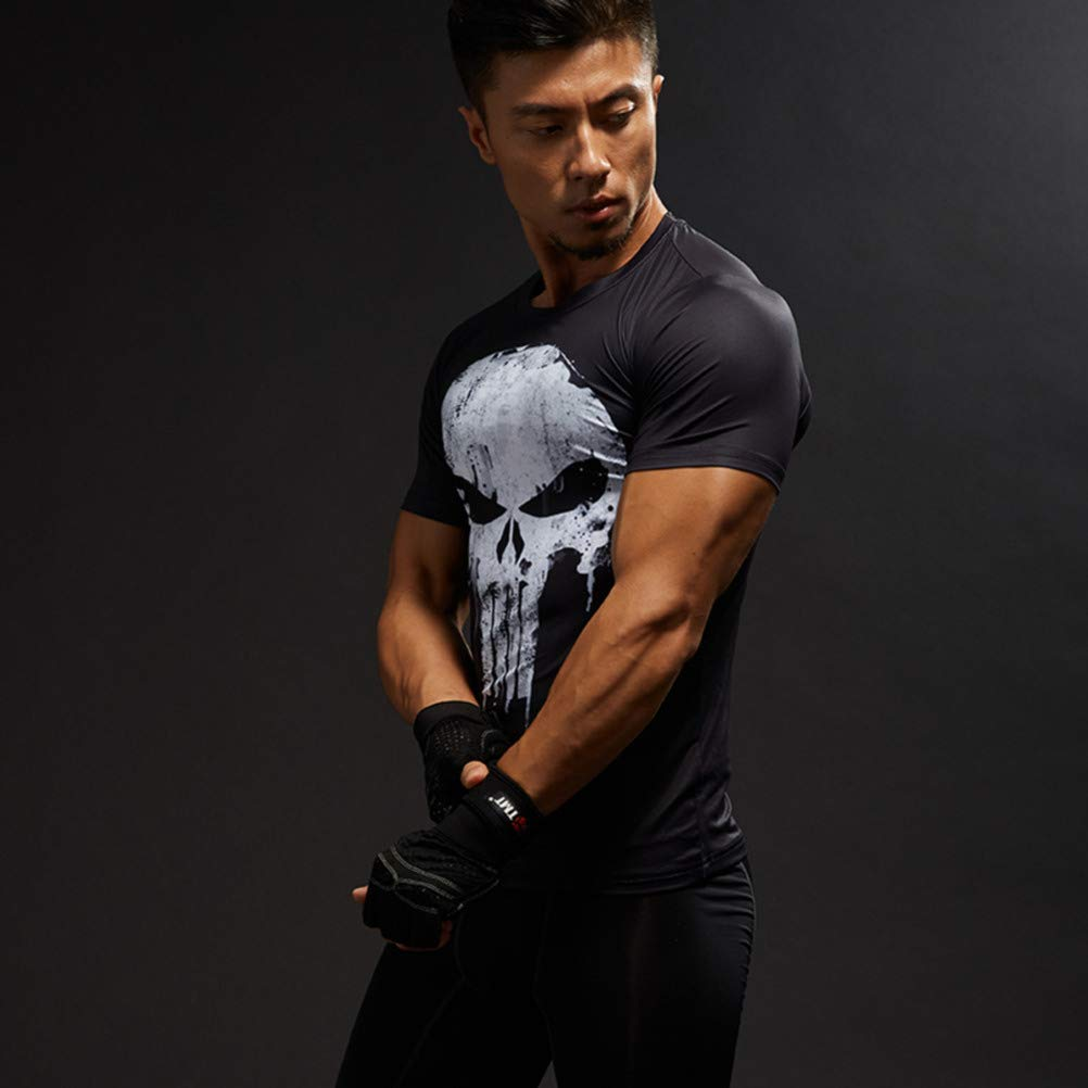 PKAWAY Cool Dry Compression Shirt Punisher Shirt for Running White Workouts Tee
