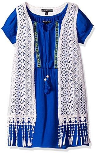 Crochet Fringe (My Michelle Big Girls' Short Sleeve Peasant Dress With Crochet Vest With Fringe, Cobalt, 8)