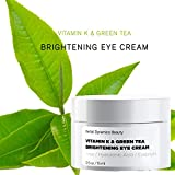 HD Beauty Vitamin K + Green Tea Brightening Eye Cream for Undereye Circles, Puffiness and Fine Lines with Hyaluronic Acid and Aloe, 0.5 oz.