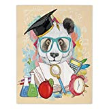 Polyester Rectangular Tablecloth,Animal,Panda Goes to School Humor Education Hipster with Glasses Books Pen Graphic Art,Multicolor,Dining Room Kitchen Picnic Table Cloth Cover,for Outdoor Indoor