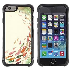 Fuerte Suave TPU GEL Caso Carcasa de Protección Funda para Apple Iphone 6 PLUS 5.5 / Business Style Pond Fishing Pastel Watercolor Art