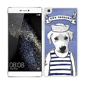 Funda carcasa para Huawei P8 diseño dibujo perro hey sailor marinero borde blanco