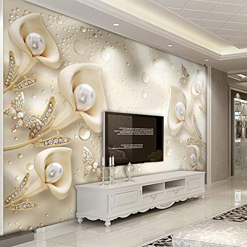 (Murals,Custom 4D Wallpaper Plant Series Floral Butterfly Silk Water Drops Wall Decoration Art Print Poster Picture Photo Hd Print For Living Room Bedroom Hotel Cafe Home Decor Large Silk Mural 180Cm()