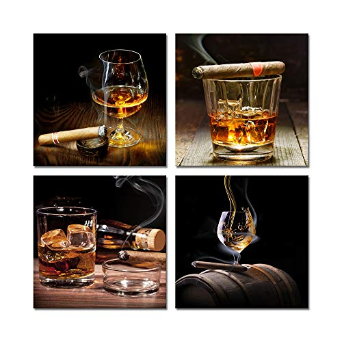 Pyradecor Cigar Wine Whisky Canvas Prints Wall Art Liquor Still Life Pictures Paintings for Kitchen Bar Pub Home Decorations 4 Piece Modern Stretched and Framed Ready to Hang Giclee -