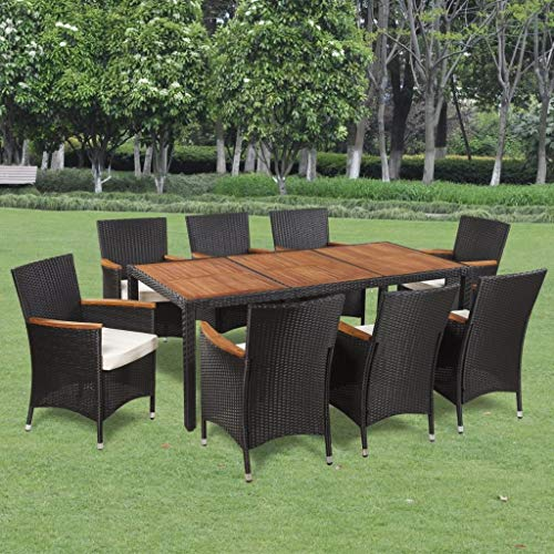 Festnight 9 Piece Outdoor Garden Dining Set Poly Rattan Acacia Table Top (Table And Garden 8 Piece Chairs)