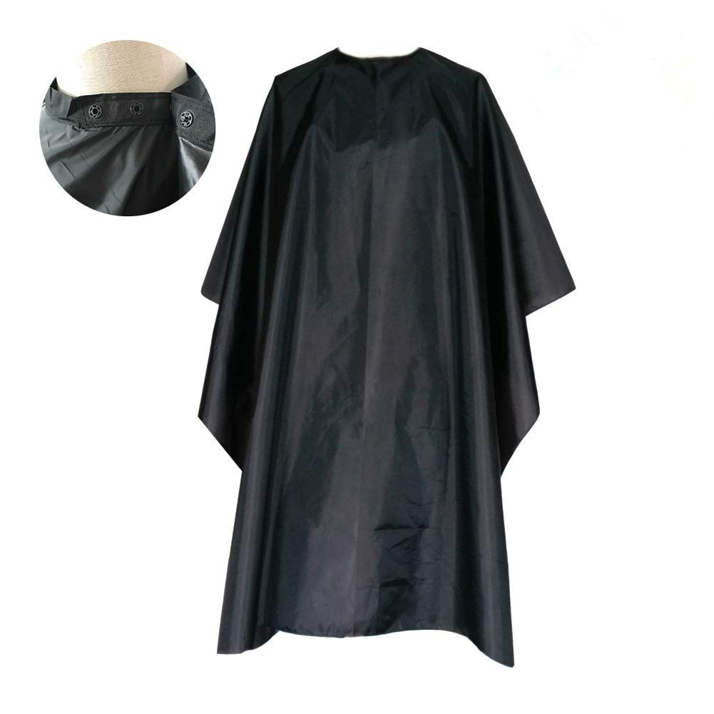 FocusOn Professional Barber Cape, Salon Styling Cape with Adjustable Snap Closure for Hair Cutting - 2 Pack, 59'' x 51'' Black by Focuson