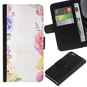 KingStore / Leather Etui en cuir / Apple Iphone 6 / Bouquet Blanco Primavera Girly;