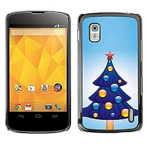 YOYO Slim PC / Aluminium Case Cover Armor Shell Portection //Christmas Holiday Blue Tree 1071 //LG Google Nexus 4