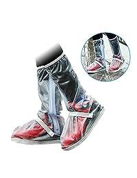 PAWACA lluvia cubierta para zapatos, 1par unisex reutilizable antideslizante lluvia nieve Protector de cubrezapatillas impermeable Fundas de botas de cremalleras para tormenta nieve y Moto jardín, Camping