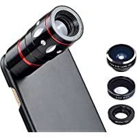 Apexel Optical Phone Camera Lens Kit Black 10x Zoom Telescope Camera Lens and Fisheye/wide Angle/Macro Lens with Hard Back Case for iPhone 7