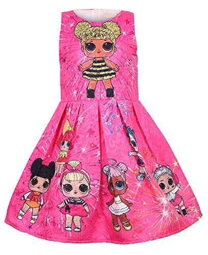 WNQY Girls Surprise Princess Dress up Doll Digital Print Party Gown Dress for Doll Surprised (110/3-4Y, Rose) -