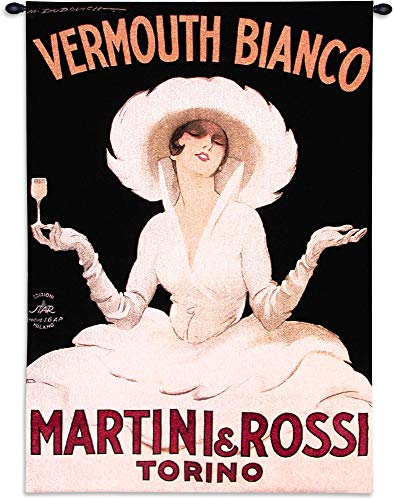 (Martini & Rossi Torino | Woven Tapestry Wall Art Hanging | Vintage Vermouth Poster Advertisement Art | 100% Cotton USA Size 53x38)