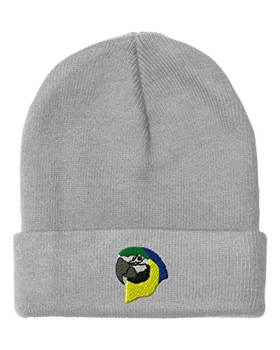 [Parrot Head Embroidery Embroidered Beanie Skully Hat Cap Light Gray] (Parrot Head Hat)