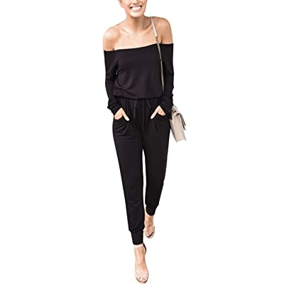 Adibosy Women Long Sleeve Jumpsuit Rompers Elastic Waist Drawstring Long Pants Casual Playsuit with Pockets Close-Match: Clothing