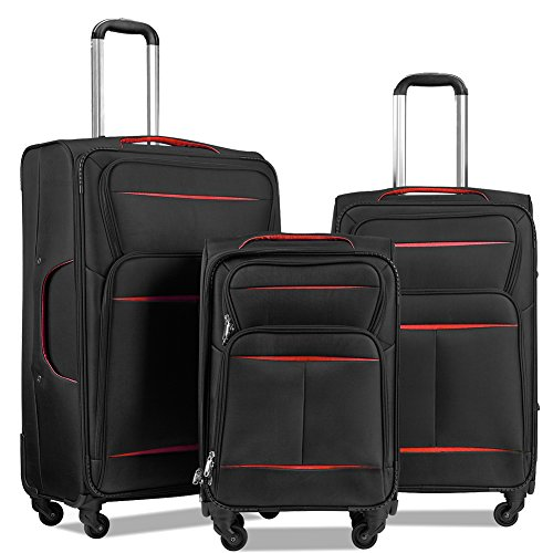 LuggageSetSuitcaseSet3PieceLuggageLightweightSoftShellwith4RollingSpinnerWheelsSuper Durable (20inch,24inch,28inch) (Black & red) (Luggage Rolling Shop)