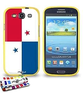 Carcasa Flexible Ultra-Slim SAMSUNG GALAXY S3 / I9300 de exclusivo motivo [Bandera Panamá] [Amarillo] de MUZZANO  + ESTILETE y PAÑO MUZZANO REGALADOS - La Protección Antigolpes ULTIMA, ELEGANTE Y DURADERA para su SAMSUNG GALAXY S3 / I9300