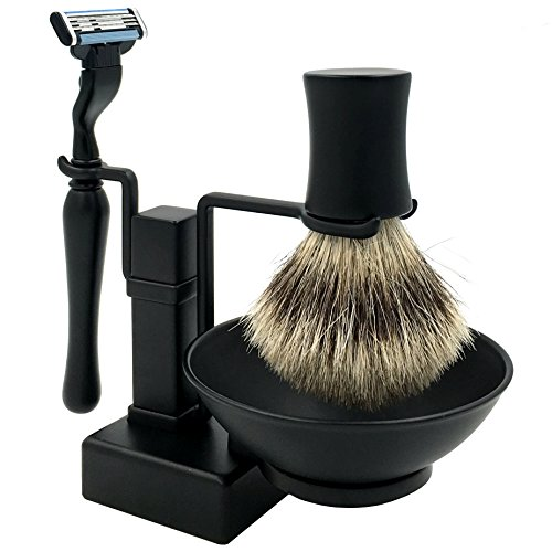 4 in 1 Men's Shaving Set, Luxury Genuine badger brush + Shaving Brush Stand + Safety Razor + Shaving Soap Bowl/Mug Black Finishing, Great Gift Idea for Father Husband or Boyfriend by SANWA