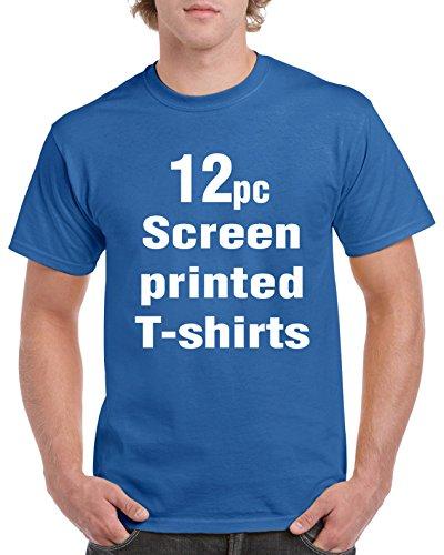 Screen Printing Custom Personalized 12 t-shirts One Color Screen Printed T-shirts - Print Your Text, Art, Logo or Design - Royal Blue - Custom Screen Printed T Shirts