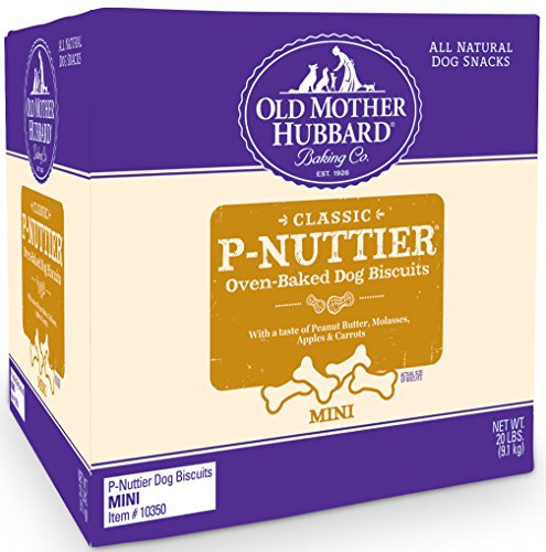 Old Mother Hubbard Classic Crunchy Natural Dog Treats, P-Nuttier Mini Biscuits, 20-Pound Box