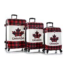 "Heys Canada Maple Check 3pc Set Fashion Spinner Hard Shell Luggage Set - 30"", 26"" & 21"""