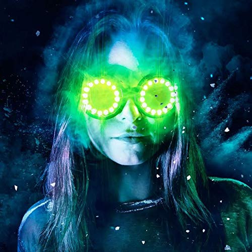 GloFX LED Pixel Pro Goggles [350+ Epic Modes] - Programmable Rechargeable Light Up EDM Festival Rave Party Sunglasses -