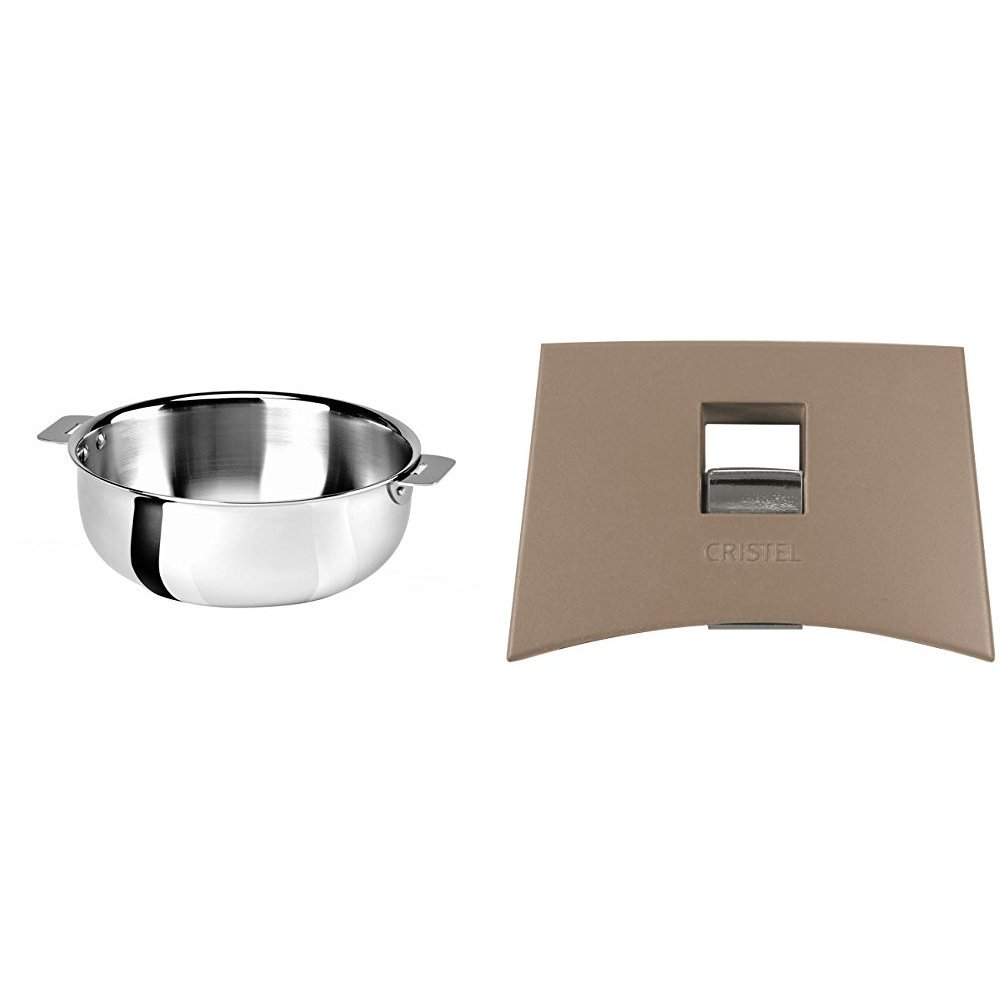 Cristel SR22QMP Saucier, Silver, 3 quart with Cristel Mutine Plmat Side Handle, Taupe