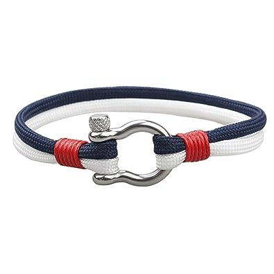 EXINOX Pulsera Nautica Hombre Y Mujer | Cuero Acero Inoxidable (Azul Y Blanco): Amazon.es: Joyería