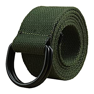 Maikun Mens & Womens Canvas Belt with Black D-ring 1 1/2″ Wide Extra Long Solid Color