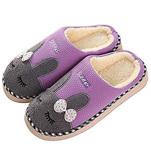 Zeeton Winter Baumwolle Pantoffeln Plüsch Warm Weiche Hausschuhe Kuschelige Home Rutschfeste Slippers mit Hase Kinder Herren Damen Rosa 40-41 5QLEcvccI