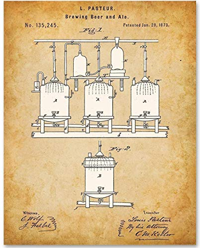 Beer and Ale Fermentation - 11x14 Unframed Patent Print - Makes a Great Gift Under $15 for Home Brewers, Home Bars or Man Cave Decor from Personalized Signs by Lone Star Art