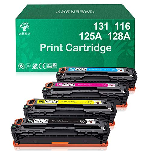 (GREENSKY Compatible Toner Cartridges Replacement for HP 131A 131X 125A 128A CF210A Laserjet Pro 200 Color M251nw for Canon 131 131H MF624Cw MF628Cw Bundle (Black, Cyan, Yellow, Magenta, 4-Pack) )