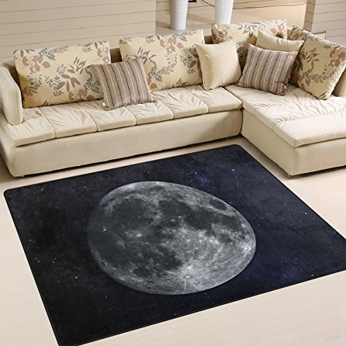 Naanle Universe Galaxy Area Rug 5'x7', Solar System Planet Moon Polyester Area Rug Mat for Living Dining Dorm Room Bedroom Home Decorative by Naanle