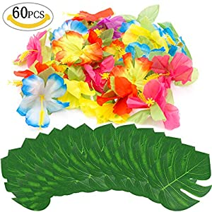 """60 Pcs Tropical Party Decoration Supplies,MMTX 30 Pieces 8"""" Tropical Artificial Palm Leaves and 30 Pieces Simulation Hibiscus Flowers for Luau Hawaiian Jungle Beach Summer Theme Table Decoration. 18"""