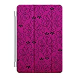 Custom Smart Cover (Magnetic) for Apple iPad Air - Neon Pink Black Floral Pattern