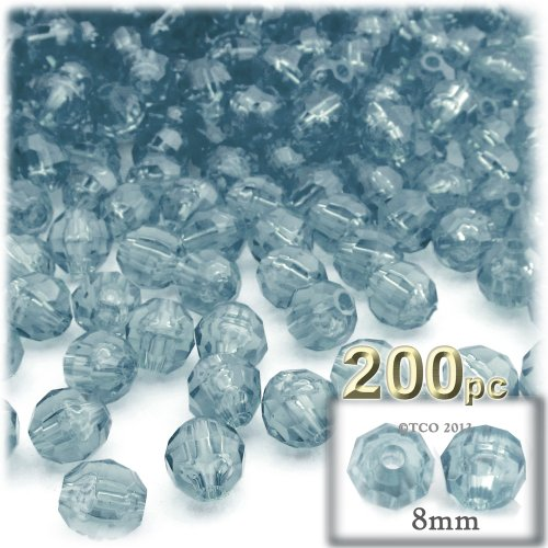 The Crafts Outlet 200-Piece Faceted Plastic Transparent Round Beads, 8mm, Blue (Faceted Plastic Bead Necklace)