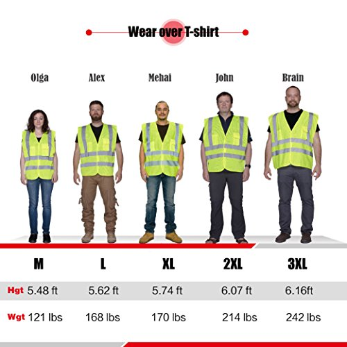 XSHIELD XS0006,High Visibility Mesh Safety Vest with Silver Stripe,ANSI/ISEA 107-2015 Type R Class2 Not FR,Pack of 5 (XL, Yellow) by X-Shield (Image #4)