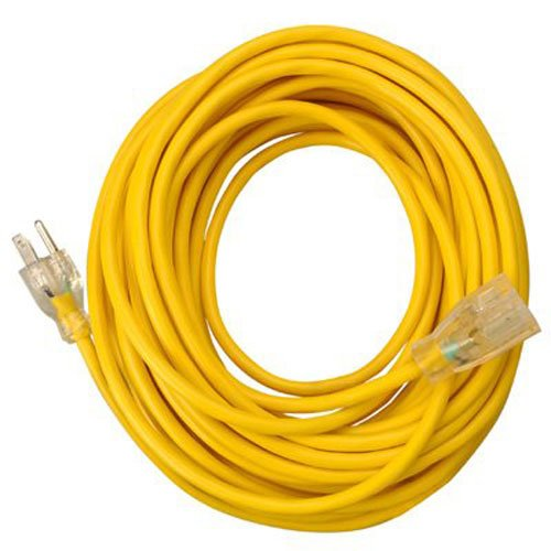 Southwire 01487 25-Foot 14/3 American made Insulated Outdoor Extension Cord with Lighted End, 3-Prong, Yellow Coleman Solar Extension Cord
