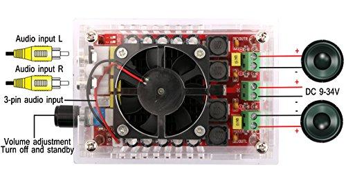 Yeeco Audio Amplifier Module DC 9V-34V Dual Channel 100W+100W Digital Audio Amplifier Board 2 Channel Amplifier Car Audio Digital Stereo Amp Module for DIY Sound System Home Speaker